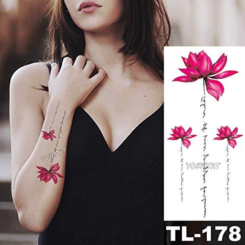 5Pcs-Vibrierende Tiefrote Rose Tattoos Für Frauen Tattoo Sticker 3D Farbverlauf Blume Körper Brust Hals Kunst Wasserdichte Tato-In Tattoos Von 10-Tl178