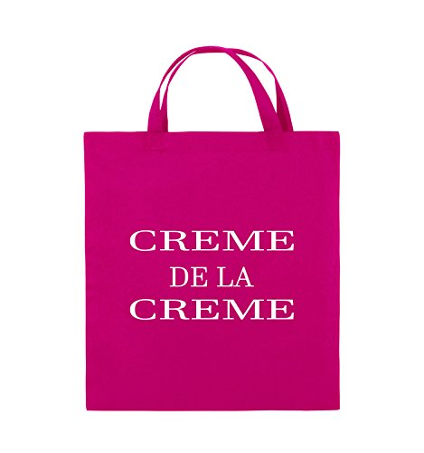 Comedy Bags - CREME DE LA CREME - Jutebeutel - kurze Henkel - 38x42cm - Farbe: Schwarz / Pink Pink / Weiss