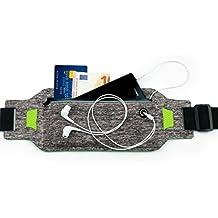 MyGadget Riñonera Belt Deportivo para Télefono Móvil - Cinturón Running Impermeable para Apple iPhone X 8 7 6 Plus, Samsung Galaxy S8 S7 etc. Gris Claro