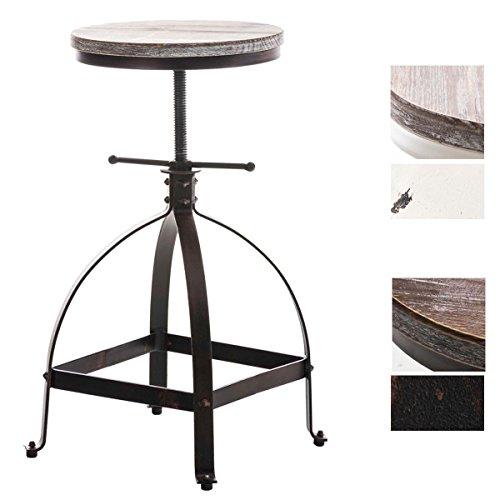 CLP Metall-Hocker RAJA, Industrial Look, Holzsitz, robust, höhenverstellbar 50 - 67 cm bronze