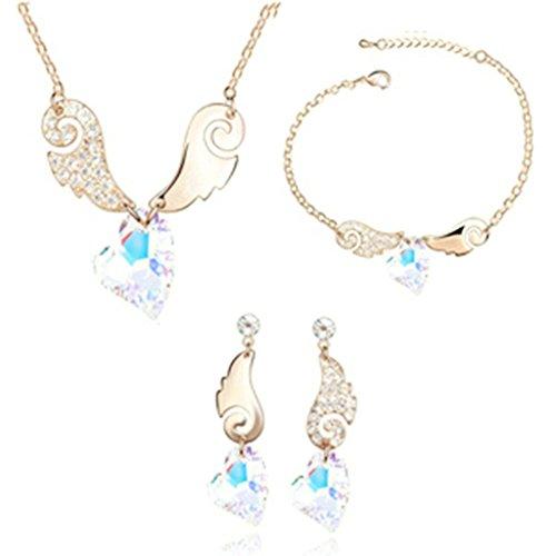 Aooaz Femmes Alliage Bijoux Parures Aile Boucles d'oreilles Bracelet Collier Mariage Or Rose Coloré Blanc