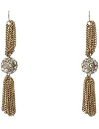 Jodie Rose Gold Tassel with Crystal Ball Earrings