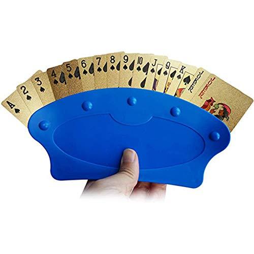 Perfektes Geschenk für faulen Mann !!! HuaCat 1 Pack Imperial Home Game Night Poker Rack-Kartenhalter - Stehend Plastikspiel Behinderte Entertainment Helper (4Pcs, Blau) - Id-abzeichen-träger