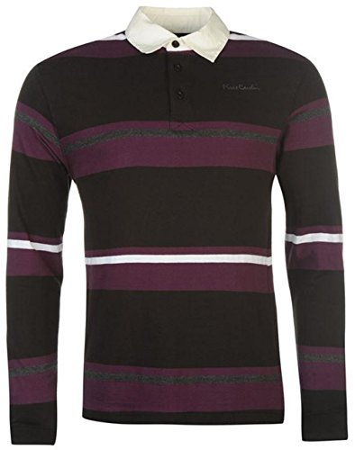 mens-casual-top-long-sleeve-rugby-polo-shirt-large-black-plum