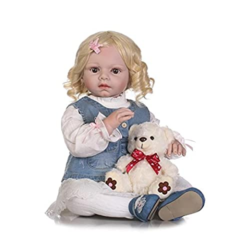 LILITH 27Inch/70cm Curly Blonde Hair Handmade Lifelike Reborn Baby Doll Toddler Realistic Looking Newborn Babies Dolls Soft Silicone Baby Girl for Kid Toy