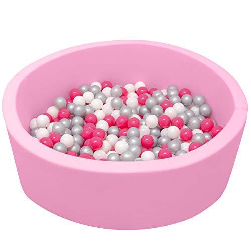LittleTom Baby Bällebad Pool 90x30 Rosa 350 Bällchenbad Bälle Pink Weiß Grau
