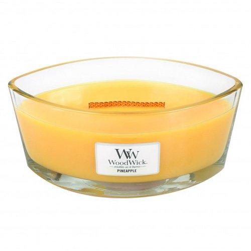 WoodWick HeartWick Flame Oval Ananas Candela Profumata in Vaso di Vetro,, Giallo, 11.6x18.9x8.8 cm