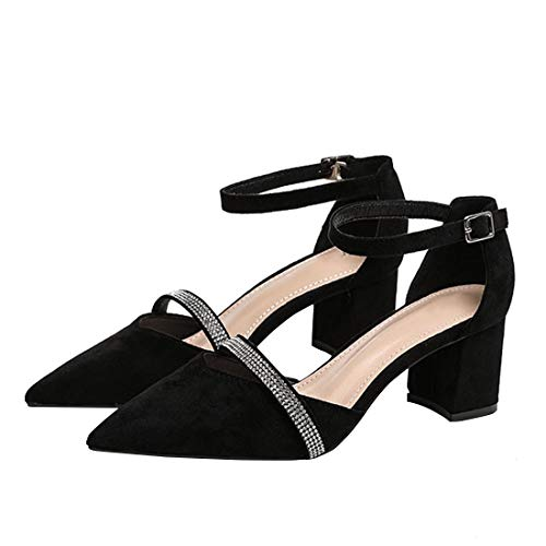 YYF Frauen Chunky Low Heel Pump Sandalen Closed Toe Ankle Strap Schuhe Glamour Ankle Strap Heels