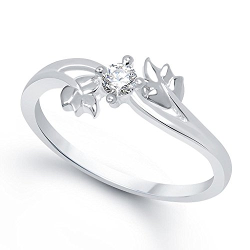 Lady touch Silver Plated Leaf Cz Diamond Ring For Girl's And Women's_Adjustable (Free Size)