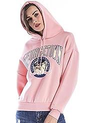 Reaso Femmes Hoodie Sweatshirt Mode Manteau Manche longue Pullover Hooded Outwear Imprimé lettres Loose Sweater Chemisier Csaual Tops Grande Taille