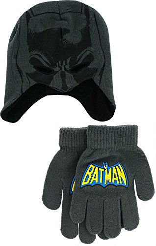 DC Comics I Am Batman Youth Laplander Beanie Hat with Gloves