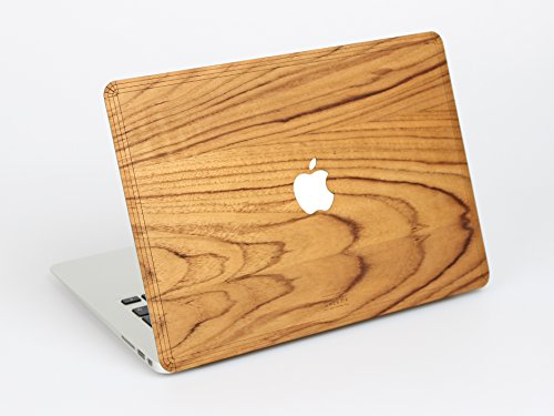 WOODWE Verca Custodia in Legno per Apple Macbook Air Pro 13 15 pollici - Cover Posteriore Skin in Legno di Noce - Macbook Wood Case (Macbook Air 13, Light Teak)