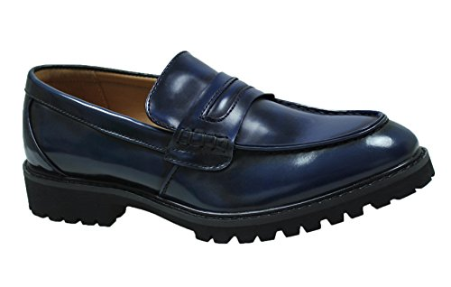 Mocassini uomo class blu scarpe shoes slip on eleganti casual (43)