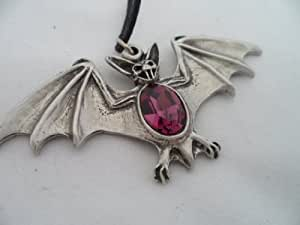Gothic Jewellery Bat Wing With Amethyst Gothic Pewter Pendant, Awesome!