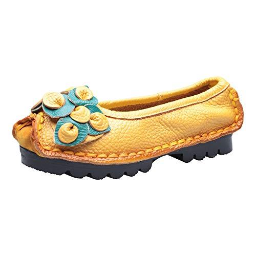 ♥ Loveso♥ Damen Bloom Geschlossene Flache Sandalen - Slip On Ballerinas Schuhe Damen Mehrfarbig Classic Rutschfest Bequem Casual Mokassins (Ballerina Hübsche Schuhe)