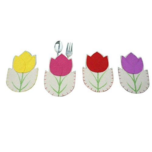 KEERADS 4pc Fleurs de Pâques Décoration de table Vaisselle couverts d'argenterie Pockets Dinner Decor For Kids Party