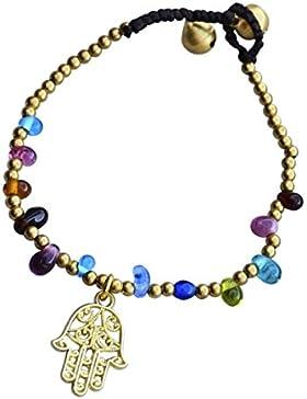 BOHIMA handgefertigtes Armband mit Hand der Fatima Anhänger | Im Boho, Bohemian, Ethno, Hippie Stil | Freundschaftsarmband...