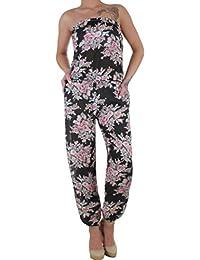 BD Damen Jumpsuit Overall Stretch Einteiler Sommerhose Strandhose Bandeau mit Blumenmuster onesize 34-42