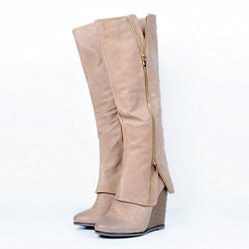 Kolnoo Femmes Mode Chaussures Talon compensé Long Shift Knight Knee Boots brown