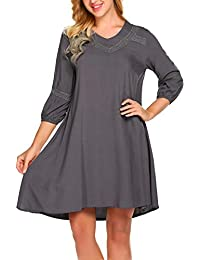 add0e98f0c9ac Finejo Damen T-Shirt Kleid Rundhals 3/4-Arm mit Spitzen Elegantes Kleid  Knielang Tunika Kleid Loose Casual Kleid Swing Kleid A-Linie…