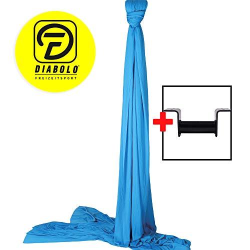 Diabolo Freizeitsport Vertikaltuch Set | 6m in blau inkl. Vertikaltuchaufhängung für die Decke (Made in Germany) + Baumwollbeutel | geprüft & Zertifiziert |Deckenbefestigung | Artistik | Aerial Yoga