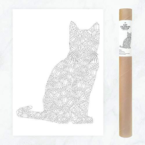Katze aus Diamanten und Kristallen, großes Poster zum Selbermalen für Erwachsene