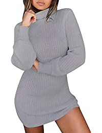 Robe Pull Femme Chic Casual Mode Vintage A Manche Longues Col Haut Ultra Sexy Pull Dress Automne Hiver