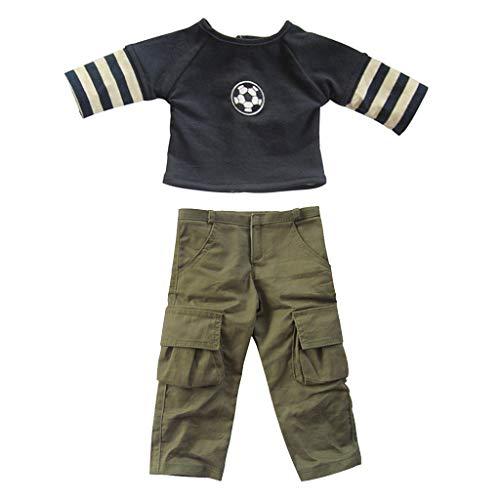 Baoblaze Stilvolle Fußball Kleidung Shirt Hose Kostüm Für 18 Zoll - Niedliche Fußball Kostüm