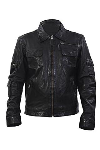 Infinity New Men's Casual Real 100% Sheepskin Black Nappa Leather Short Multi-pocket Biker Jacket Slim Fit (3XL)