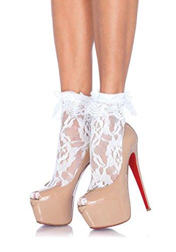 Paar Bis Kostüme (Leg Avenue Damen Paar Söckchen Socken Strümpfe mit Rüschen weiß Einheitsgröße One Size ca. 38 bis)