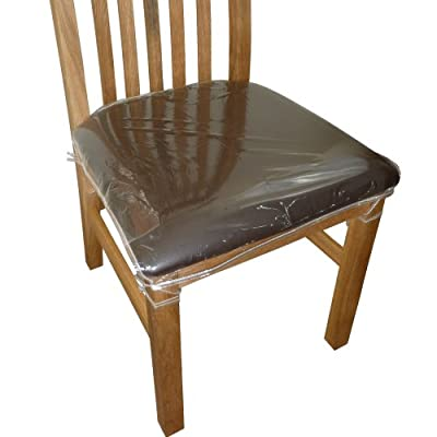 6 x Clear Plastic Dining Chair Seat Cushion Covers / Protectors - cheap UK chair store.