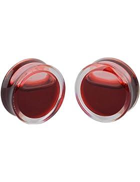 iDealhere(TM) 1Paar Rot Blood Flüssigkeit Flesh Tunnel Liquid Ohrstöpsel Piercing Ohrschmuck Acryl Transparent...