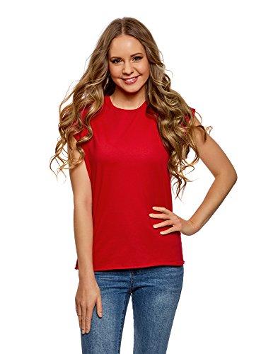 oodji Ultra Damen T-Shirt Basic Aus Baumwolle, Rot, DE 42/EU 44/XL