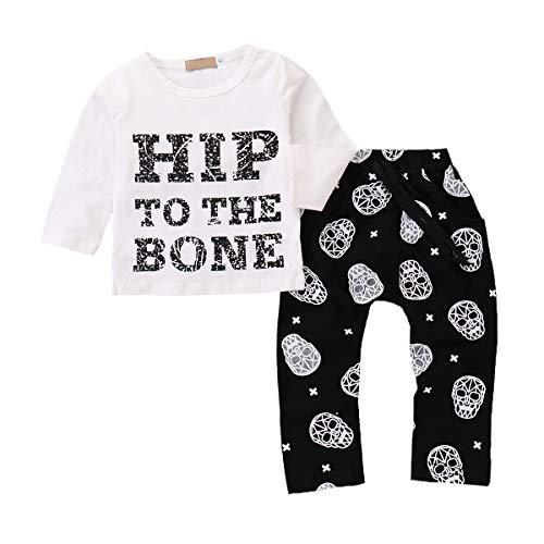 y Jungen Hip-Hop Kurzarm T-Shirt Tops Hipster Schädel Hosen Kleidung Set 0-3 Jahre ()