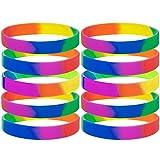 GOGO Rainbow Pride Silikon Armbänder Machen Erwachsene Gummi Armbänder Partyzubehör 10St./Pack, Unisex, Regenbogenfarben
