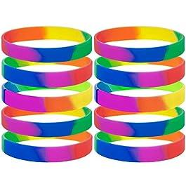 GOGO 10 pz Gomma Braccialetti Arcobaleno Orgoglio in Silicone Bracciali Bomboniere