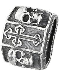 Charm Bead Silber mit Onyx Rebeligion Classic Rock für Leder Armband Anhänger