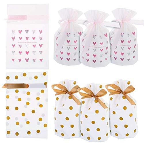 20 Stück Süßigkeit Partytüte Candy Beutel Biscuit Cookie Tüten Taschen Gold Polka Dot Und Pink Heart Print Treat Taschen mit Kordelzug,Kunststoff Gunst Taschen für Hochzeit Geburtstag Weihnachten