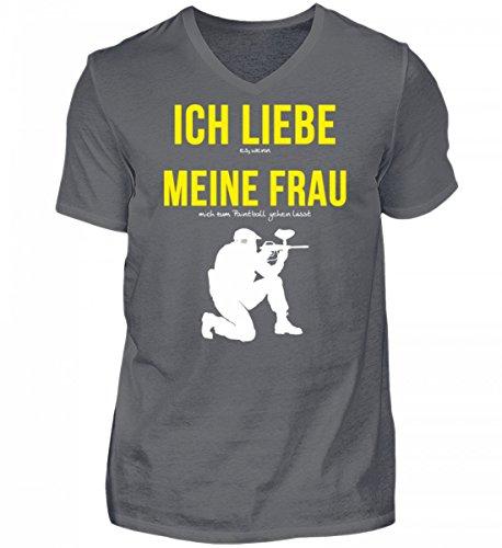 Hochwertiges Herren V-Neck Shirt - Ich Liebe Meine Frau Spruch - Paintball Spruch Tshirt
