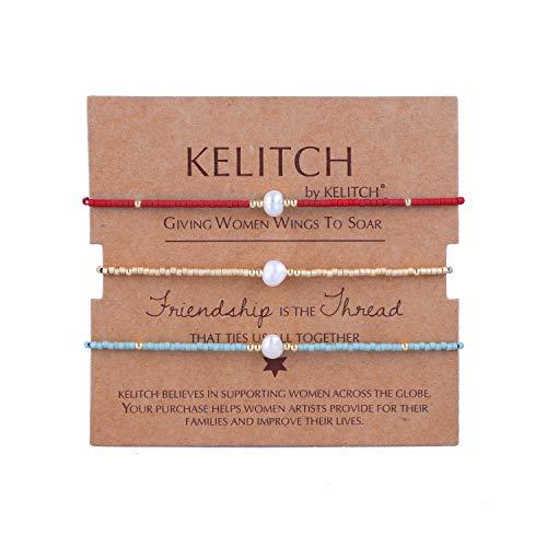 KELITCH Armbänder Damen Herren Japanisch Rocailles Perlen 3 Pcs Freundschaftsarmbänder Shell Perle Einstellbar Handarbeit Paar Armband Armband Frauen Männer ()