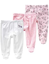 Pack de 3 Pantalones para Bebé Niñas Leggings con Pies de Algodón Pantys