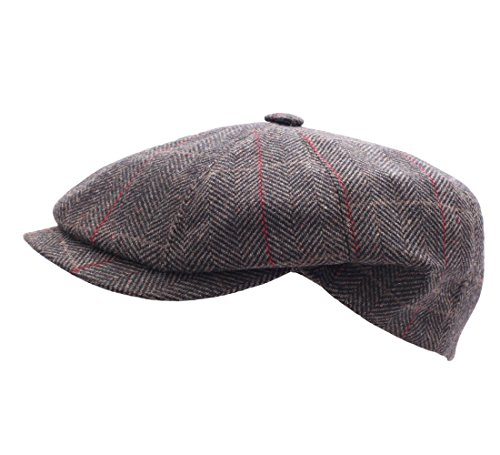 Classic Italy - Béret - casquette plate homme Newsboy Italy marron-rouge