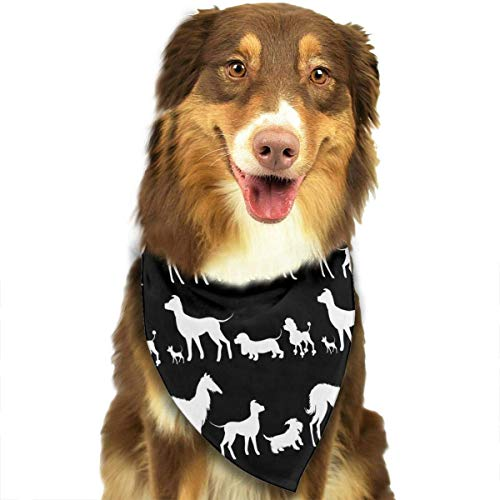 Sdltkhy Pet Bandana White Dachshund Dogs Black Washable and Adjustable Triangle Bibs for Pet Cats and ()