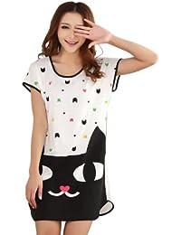 Wuiyepo Fille Lune Pyjamas chat à manches courtes T-shirt mignon