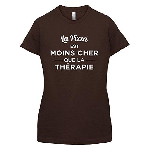 La pizza est moins cher que la thérapie - Femme T-Shirt - 14 couleur Marron Foncé