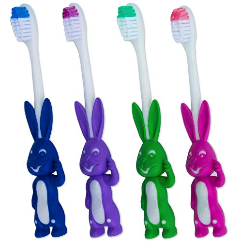 4 x Kinderzahnbürste ~ Süßer Hase, Satz Blau, Grün, Rosa und Lila