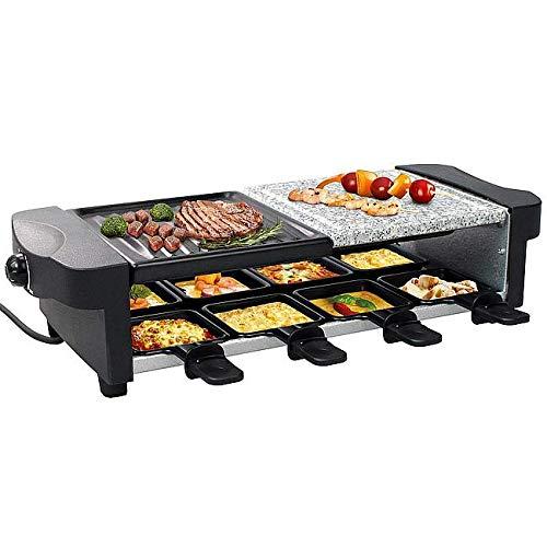 Leogreen - Appareil à Raclette 8 Personnes, Appareil à Raclette Multifonction 3 en 1, Raclette Grill 1200W, Inclus : 8 Poêlons