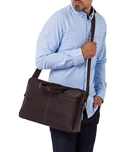 VON HEESEN Echtleder Aktentasche Laptoptasche bis 15,4 Zoll - MADE IN ITALY - Business-Tasche mit gepolstertem Laptopfach Ledertasche Umhängetasche Notebooktasche für Damen & Herren (Braun) Braun
