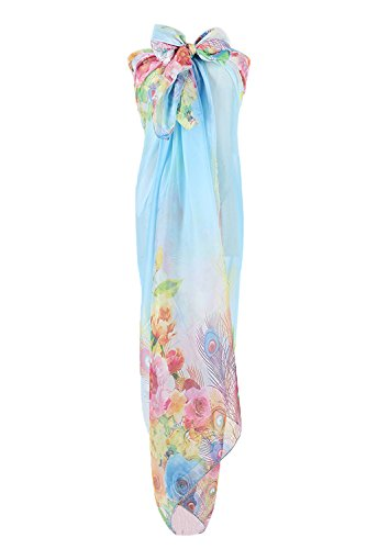 PB-SOAR Women's Ladies beautiful Sarong Pareos Wrap Beach Cover Up Swimwear Pareo Dress with Feathers and Flowers, large and soft