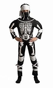 CARITAN disfraz esqueleto Ninja Warior disfraz con capucha en Deluxe, para niños (3-4años)